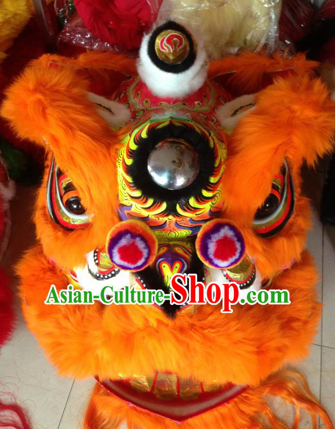 Chinese Professional Lion Dance Costumes Celebration and Parade Long Wool Orange Lion Head Complete Set