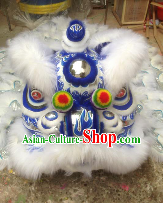 Chinese Professional Lion Dance Costumes Celebration and Parade Wool Blue Lion Head Complete Set