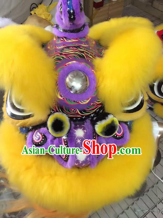 Chinese Traditional Professional Wool Purple Lion Dance Costumes Celebration and Parade Lion Head Complete Set