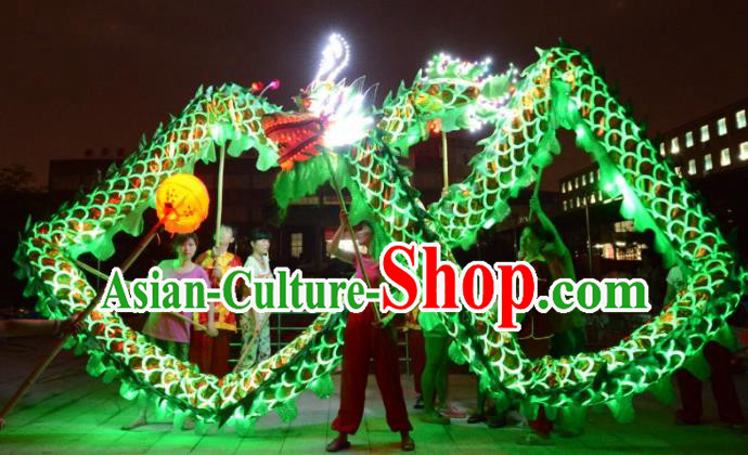 Chinese Traditional Dragon Dance Green LED Lights Costumes Professional Lantern Festival Celebration Dragon Parade Complete Set