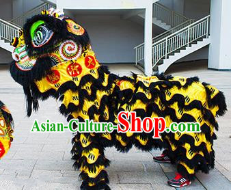 Chinese Traditional Black Wool Lion Dance Costumes Professional Celebration Parade Lion Head Complete Set