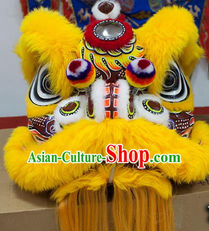 Chinese Traditional Parade Yellow Wool Lion Head Professional Celebration Lion Dance Costumes Complete Set