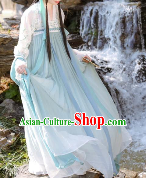 Traditional Chinese Tang Dynasty Ancient Princess Embroidered Hanfu Costume for Women