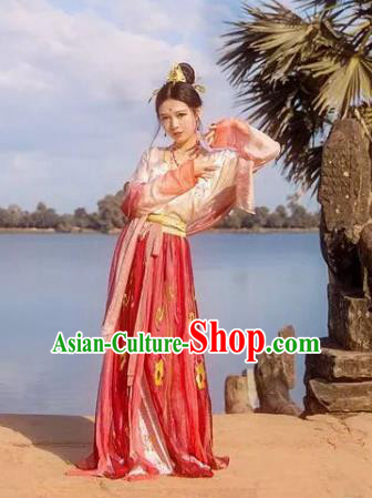 Traditional Chinese Ancient Tang Dynasty Palace Princess Embroidered Dress for Women
