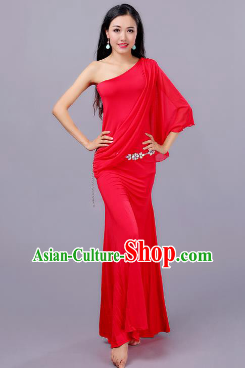 Indian Traditional Oriental Bollywood Dance One-shoulder Red Dress Belly Dance Sexy Costume for Women