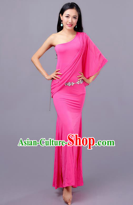 Indian Traditional Oriental Bollywood Dance One-shoulder Pink Dress Belly Dance Sexy Costume for Women
