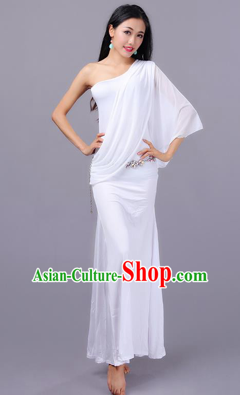 Indian Traditional Oriental Bollywood Dance One-shoulder White Dress Belly Dance Sexy Costume for Women