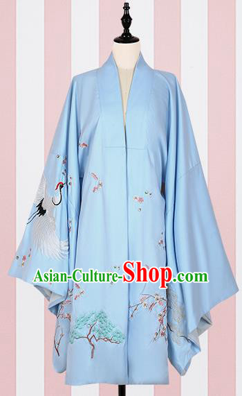 Chinese Ancient Ming Dynasty Princess Costumes Blue Embroidered Cloak for Women