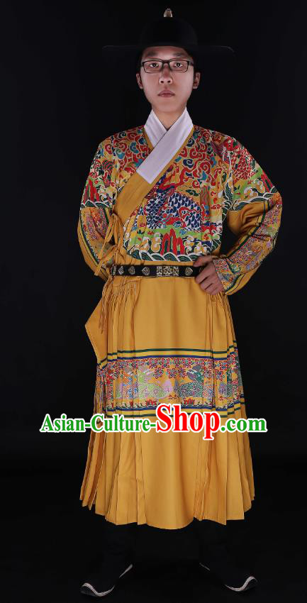 Chinese Ancient Swordsman Embroidered Kylin Robe Ming Dynasty Imperial Guards Costumes for Men