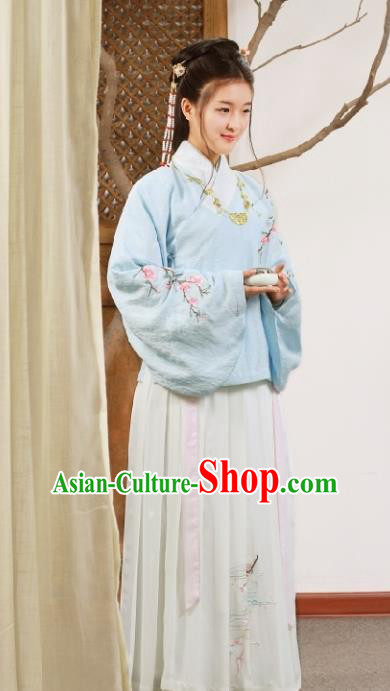 Chinese Ancient Ming Dynasty Palace Princess Embroidered Costume for Women