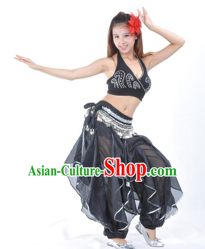 Asian Indian Traditional Costume Belly Dance Stage Performance Oriental Dance Black Clothing for Women