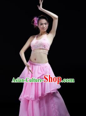 Indian Traditional Dance Pink Dress Oriental Belly Dance Stage Performance Costume for Women