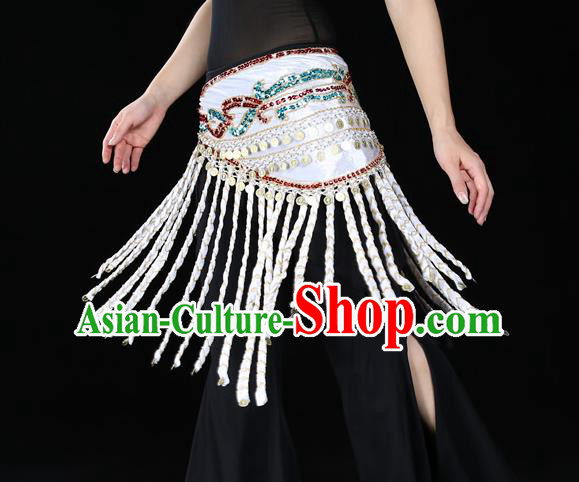 Indian Belly Dance Waist Accessories Stage Performance White Tassel Waistband Belts for Women