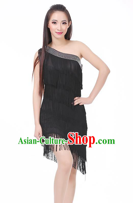 Top Modern Dance Latin Dance Costume Classical Jazz Dance Black Tassel Dress for Women