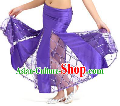Indian Traditional Belly Dance Performance Costume Classical Oriental Dance Purple Fishtail Skirt for Kids
