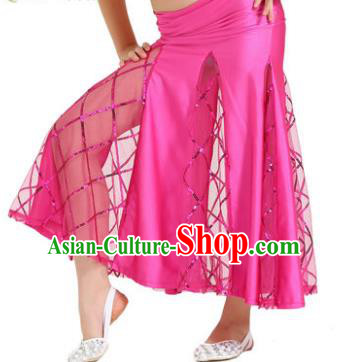 Indian Traditional Belly Dance Performance Costume Classical Oriental Dance Rosy Fishtail Skirt for Kids