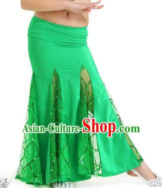 Indian Traditional Belly Dance Performance Costume Classical Oriental Dance Green Fishtail Skirt for Kids