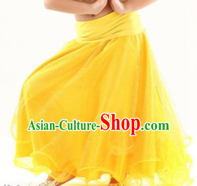 Indian Traditional Belly Dance Performance Costume Yellow Skirt Classical Oriental Dance Clothing for Kids