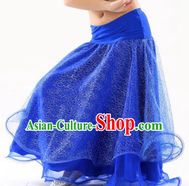 Indian Traditional Belly Dance Performance Costume Royalblue Skirt Classical Oriental Dance Clothing for Kids