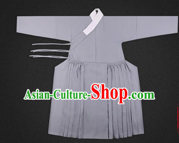 Chinese Ancient Ming Dynasty Imperialbodyguard Costume Grey Robe Swordsman Hanfu Clothing for Men