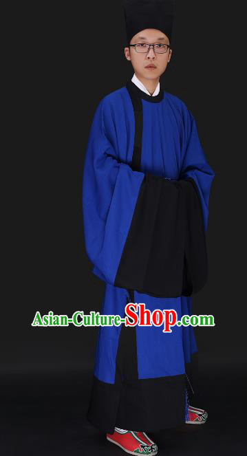Chinese Ancient Ming Dynasty Confucian Scholar Costume Blue Robe Swordsman Hanfu Clothing for Men