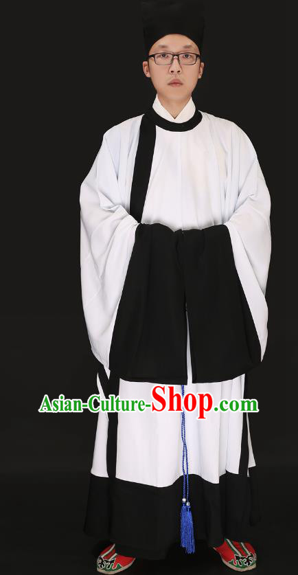 Chinese Ancient Ming Dynasty Confucian Scholar Costume White Robe Swordsman Hanfu Clothing for Men