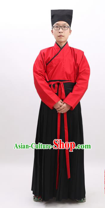 Chinese Ancient Han Dynasty Scholar Costume Confucianist Hanfu Clothing for Men