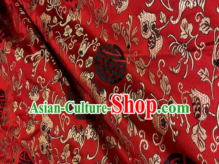 Chinese Traditional Fabric Tang Suit Royal Pattern Red Brocade Chinese Fabric Asian Tibetan Robe Material