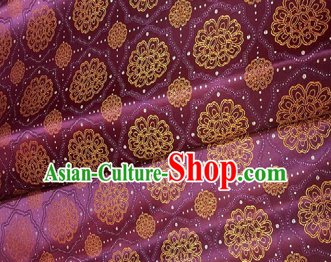 Chinese Traditional Fabric Tang Suit Royal Pattern Purple Brocade Chinese Fabric Asian Tibetan Robe Material