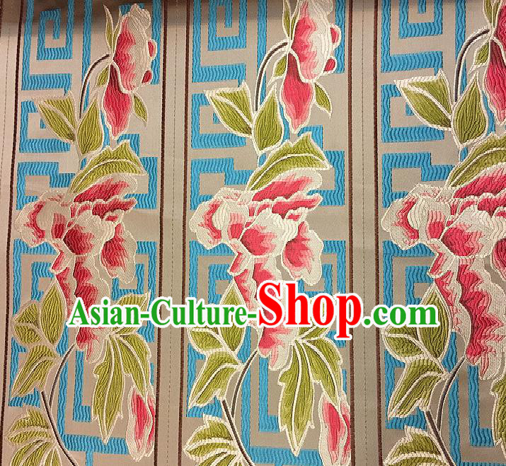 Chinese Traditional Fabric Tang Suit Peony Pattern Brocade Chinese Fabric Asian Tibetan Robe Material