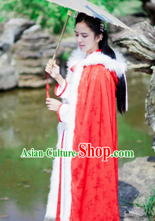 Chinese Ancient Ming Dynasty Princess Costume Red Long Cloak for Women