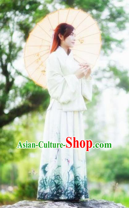 Chinese Ancient Young Lady Costume Ming Dynasty Blouse and Skirt for Women