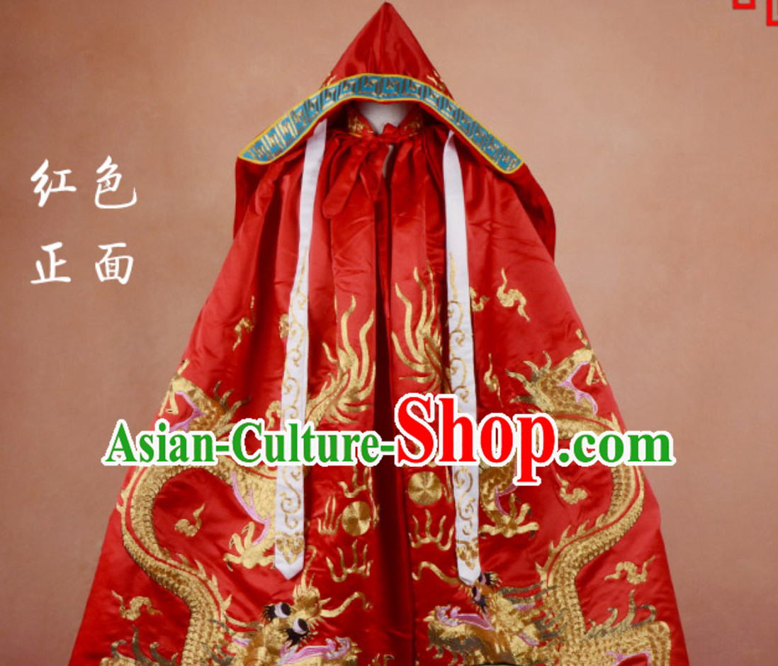 Ancient Classic Emperor Winter Coat Dragon Mantle Cape for Men