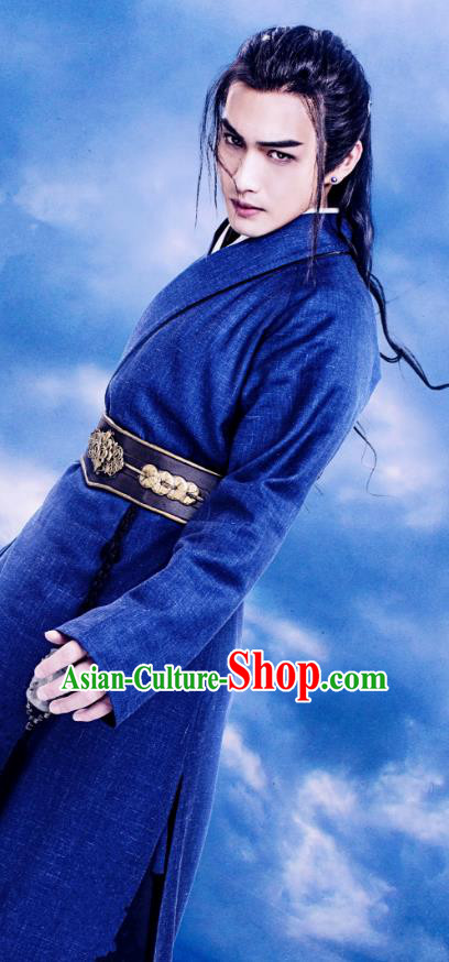 China Ancient Historical Costume Theatre Swordsman Embroidered Clothing for Men