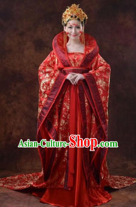 Chinese Ancient Tang Dynasty Princess Wedding Costumes Theatre Embroidered Red Dress for Women
