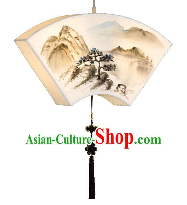 Traditional Chinese Ancient Palace Lantern Ceiling Lamp Landscape Painting Lanern