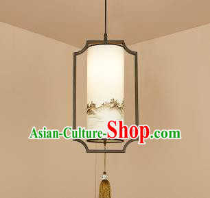 Traditional China Handmade Lantern Ancient Landscape Hanging Lanterns Palace Ceiling Lamp