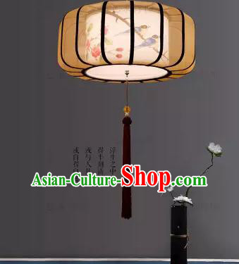 Traditional China Handmade Lantern Ancient Printing Flowers Hanging Lanterns Palace Ceiling Lamp