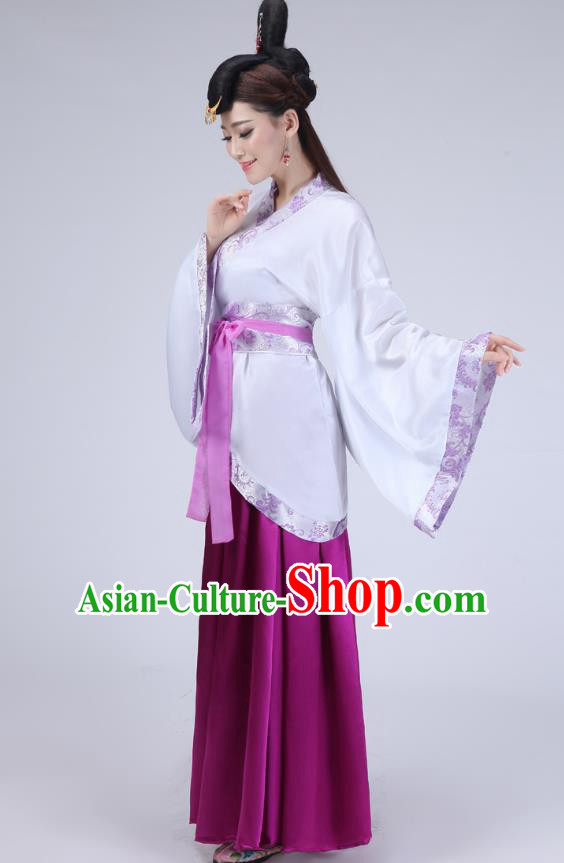 Chinese Ancient Han Dynasty Palace Lady Historical Costume Princess Embroidered Hanfu Dress for Women