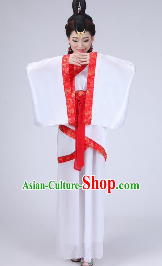 Chinese Ancient Han Dynasty Princess Historical Costume Embroidered Hanfu Dress for Women