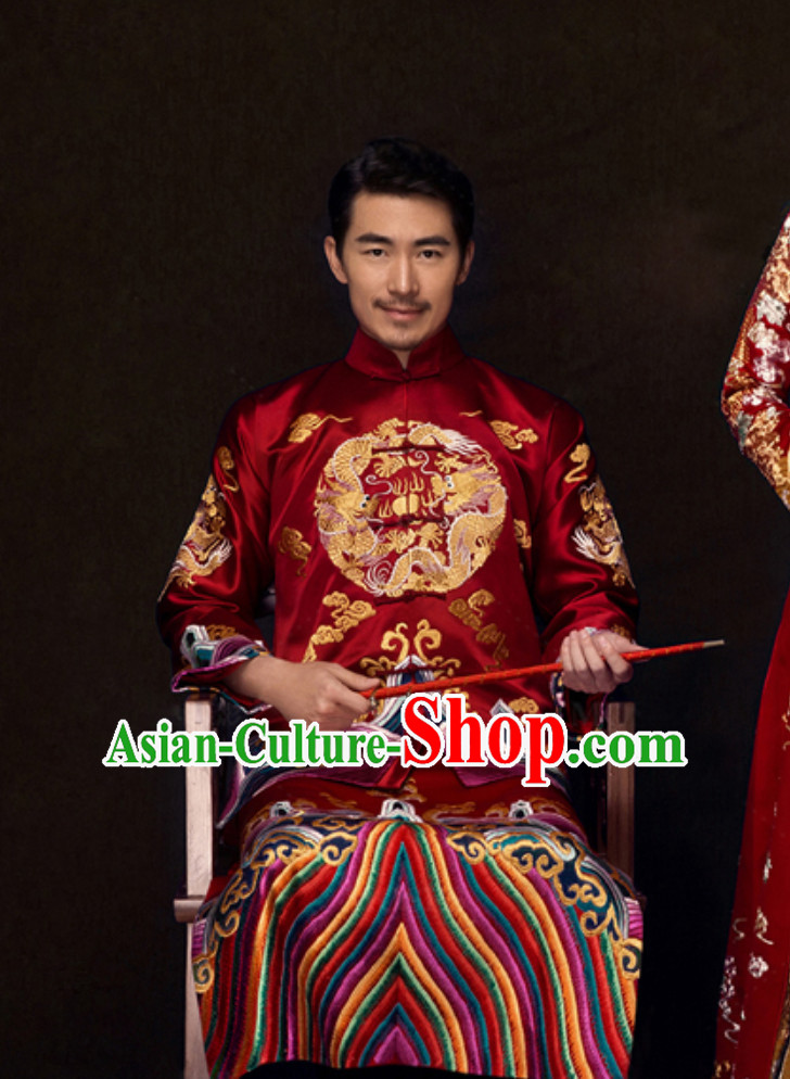 Chinese Traditional Dragon Embroidery Wedding Dress Garment for Bridegrooms