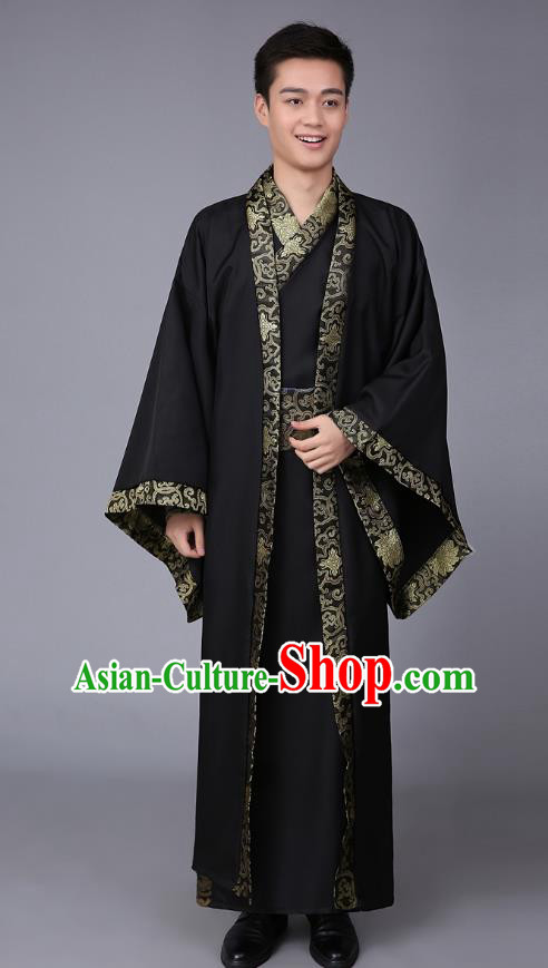 China Ancient Han Dynasty Scholar Costume Black Robe for Men