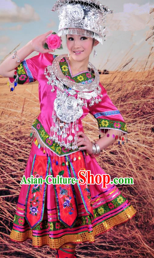 Traditional Chinese Miao Minority Nationality Embroidered Costume Pink Pleated Skirt for Women