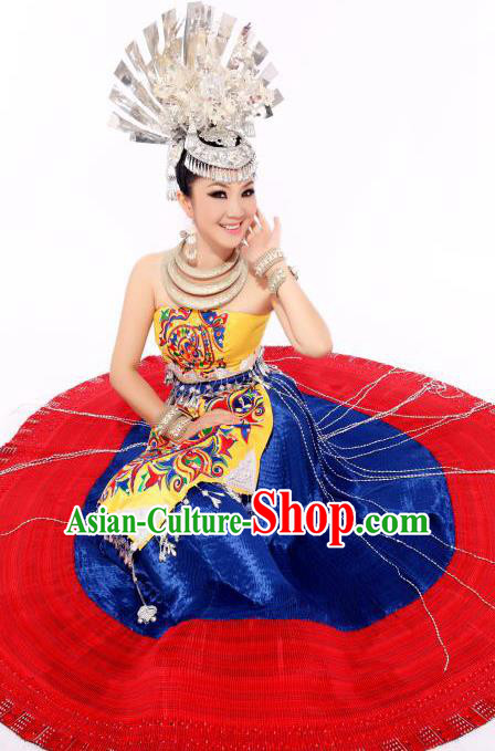 Traditional Chinese Miao Minority Nationality Embroidered Costume Hmong Bride Wedding Dress for Women