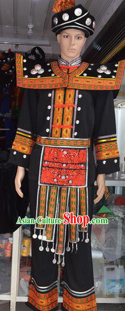 Traditional Chinese Miao Minority Nationality Embroidered Costume for Men