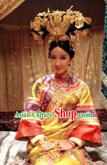 Ancient Chinese Qing Dynasty Manchu Princess Jianning Embroidered Historical Costume for Women