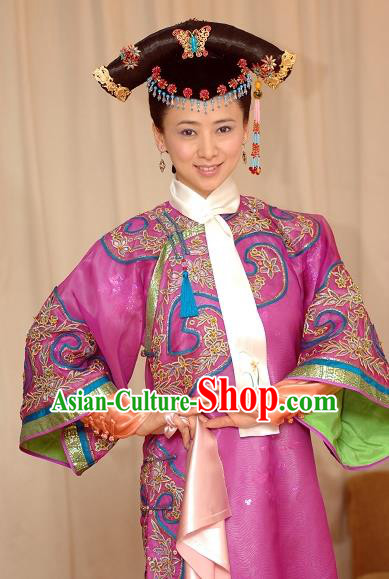 Chinese Ancient Qing Dynasty Manchu Imperial Concubine Embroidered Historical Costume for Women