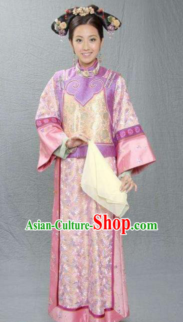 Chinese Ancient Qing Dynasty Jiaqing Princess Embroidered Manchu Dress Historical Costume for Women