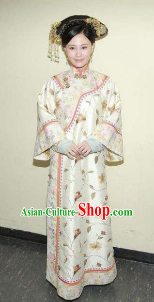 Chinese Ancient Qing Dynasty Jiaqing Imperial Concubine Embroidered Manchu Dress Historical Costume for Women