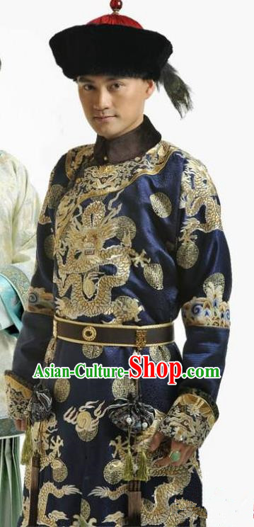 Chinese Qing Dynasty Thirteen Prince of Kangxi Yinxiang Historical Costume Ancient Manchu Royal Highness Clothing for Men